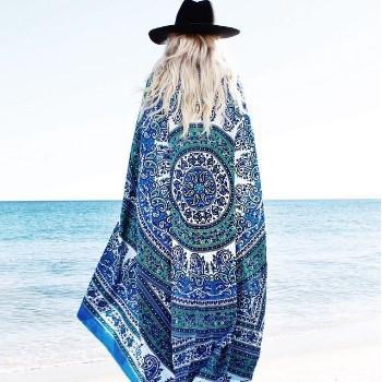 【下殺】歐美風雪紡方形沙灘巾披肩-深藍