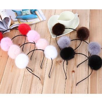 【新上架】韓版舞會毛球髮箍(4色供選)