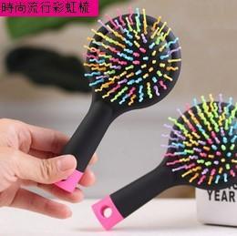 【新上架】彩虹帶鏡防靜電按摩梳(不挑色)